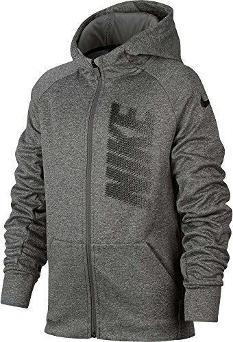 Nike Boys Therma Full Zip Graphic Hoodie (Dkgreyheather, XL) by NIKE