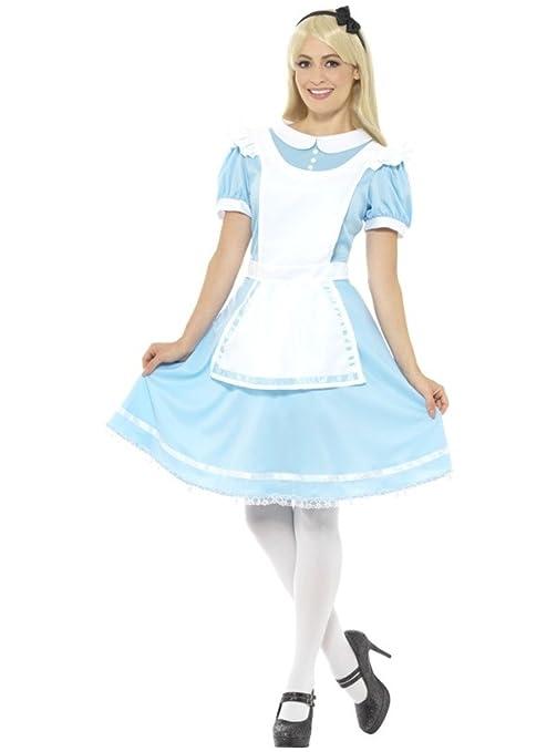 e1c5ca7b0d3a Costume carnevale adulto Alice nel Paese delle Meraviglie vestito azzurro  con grembiule bianco fiocco per la