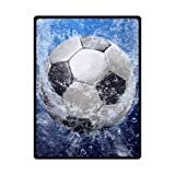 Football Soccer Ball Soft Warm Throws Blankets 58 x 80 (Large) by Fleece Blanket