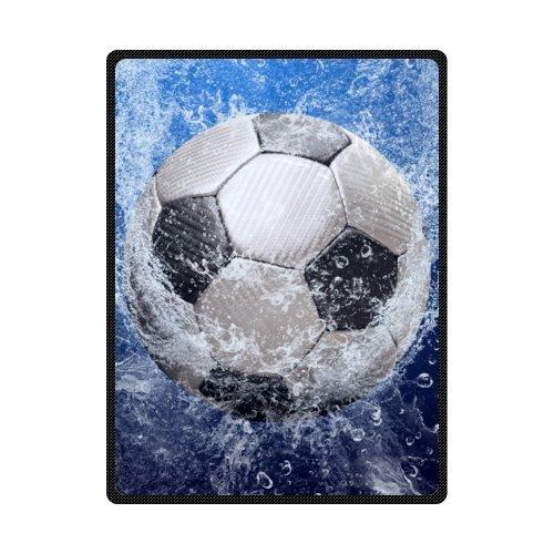 Football Soccer Ball Soft Warm Throws Blankets 58 x 80 (Large) by Fleece Blanket by Fleece Blanket