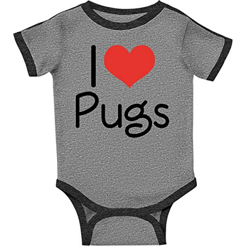 (inktastic - I Heart Pugs Infant Creeper 24 Months Ringer Heather and Smoke eee5)