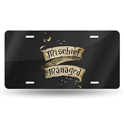 Anwei Mischief Managed Vintage Novelty Car 6x12 Aluminum Front Vehicle License Plate Frame Vanity Tag Sign: Home & Kitchen