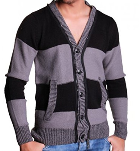 Herren Strickjacke größe L,Herren cardigan sweater L,Herren jacke schwarz grau L