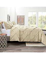 مجموعة غطاء لحاف فاخر مطوي مع 1 × وسادة وسادة بتصميم Pintuck - نعومة فائقة، خفيفة الوزن، فرشاة مزدوجة، سرير من الألياف الدقيقة جيد التهوية لنوم رائع، مريح، مزدوج، بيج كريمي