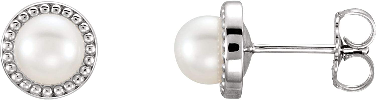 14k White Gold 5.5-6 mm Freshwater Cultured Pearl Earrings Fine Jewelry Ideal Gifts For Women