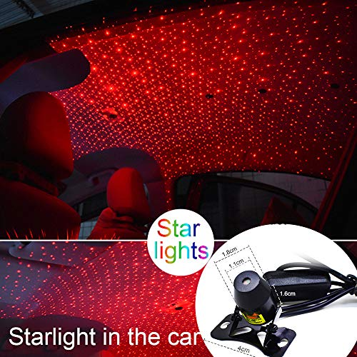 2019 Romantic Auto Roof Star Projector Lights, Flexible Romantic Galaxy USB Night Lamp Fit All Cars Ceiling Decoration Light Interior Ambient Atmosphere -No Need to Install (Red)