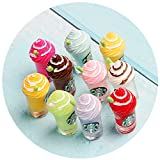 AMOBESTER Miniature Dollhouse Accessories Ice Cream Cup Mini Drinking Bottle Pretend Play Toy Dollhouse Kitchen Decoration 8Psc