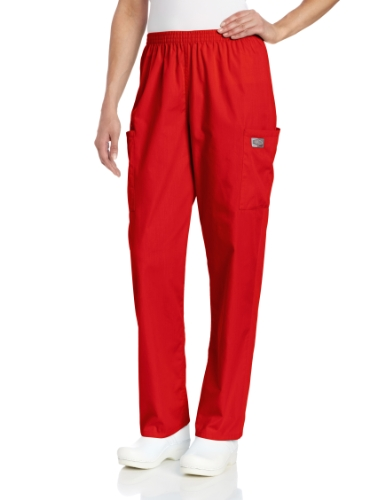 (Scrub Zone Women's Durable 2-Pocket Elastic Waist Classic Fit Cargo Scrub Pant, Deep Red, Medium)