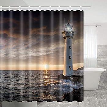 Amazon com: VODW DESIHOM Lighthouse Shower Curtain