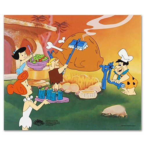 """""""Flintstones Barbecue"""" Limited Edition Sericel from the Popular Animated Series The Flintstones! Includes Certificate of Authenticity!"""