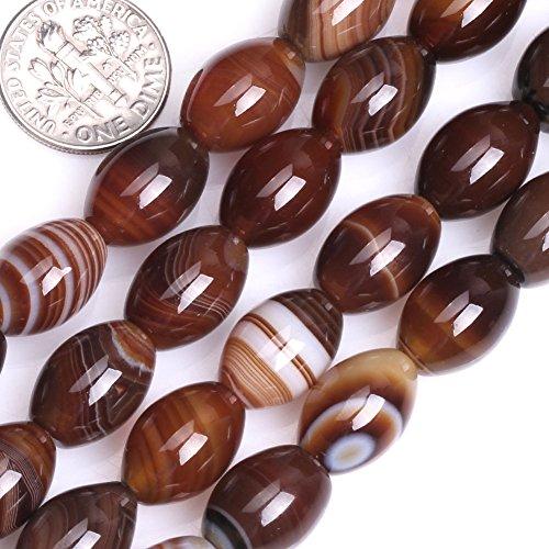 (GEM-inside Stripe Botswana Agate Gemstone Loose Beads Natural 10x14mm Bronw Olivary Crystal Energy Stone Power for Jewelry Making)