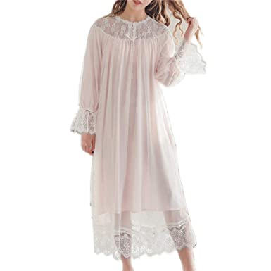 4167c8e1a3c1 Ladies Nightgown Women Vintage Nightdress Romantic Classic Princess Night  Robe Sleepwear (Pink)