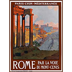 Rome Italia Italy Vintage European Travel Advertisement Collectible Wall Decor Poster Picture Print. Measures 10 x 13.5 inches