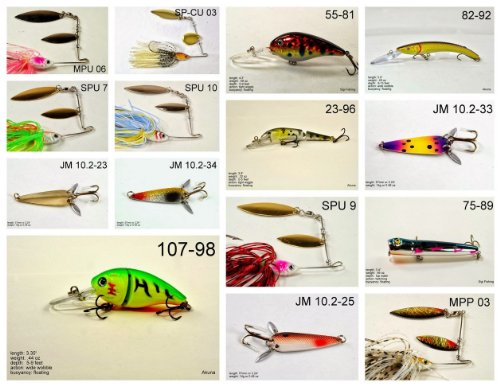 Akuna [IN] Pros' pick recommendation collection of lures for Bass, Panfish, Trout, Pike and Walleye fishing in Indiana(Bass 15-A)