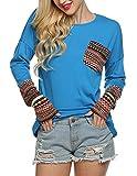 POGT Women's Winter Casual Loose Long Sleeve Blouse T-Shirt Tops Plus Size (L, Blue)