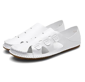 ZJM- Sommer Sandale Strand Schuhe geschlossene Zeh gestaltete weiche rutschfeste Fischer Schuhe (Farbe : Grau...