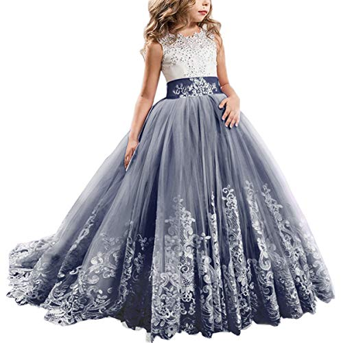FYMNSI Flowers Girls Applique Tulle Lace Wedding Dress First Communion Birthday Christmas Prom Ball Gown Navy Blue 12-13T