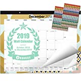 "Oriday 2018-2019 Monthly Yearly Desk Calendar, Wall Calendar + 2 Sets of Stickers - to-Do List Notepad (15Months - October2018 to December 2019, 22"" x 17"", Academic)"