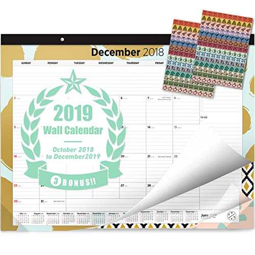 Oriday 2018-2019 Monthly Yearly Desk Calendar, Wall Calendar + 2 Sets of Stickers - to-Do List Notepad (15Months - October2018 to December 2019, 22