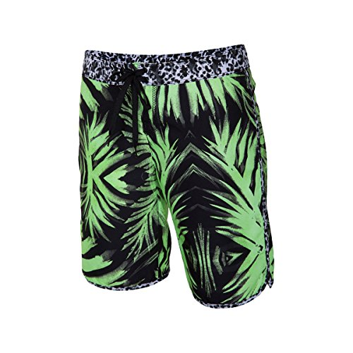 inted 9in Beachrider Board Short - Women's Flash Lime Palm, 7 (Hurley Flash)