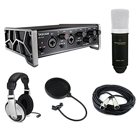 Tascam US-2x2 2-Channel USB Audio Interface Kit with Marantz MPM-1000 Large-Diaphragm Condenser Microphone, Pop Filter, 20' XLR Cable & Stereo Headphones