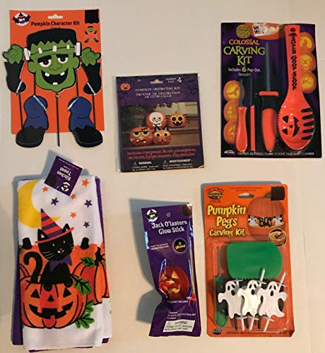 Halloween Mega Pumpkin Carving Kit - 4 Carving Tools, Stencil Book, Flameless Light, Character Accessories, Pumpkin Pegs, Kitchen Towels -