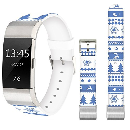 Band for Fitbit Charge 2,Jolook Replacement Leather Wristband Straps Bands for Fitbit Charge 2 - Christmas Reindeer Snowflake Christmas Tree