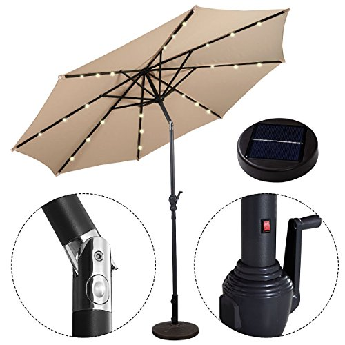 IHP 10FT Patio Solar Umbrella LED Patio Market Steel Tilt W/ Crank Outdoor New - Beige