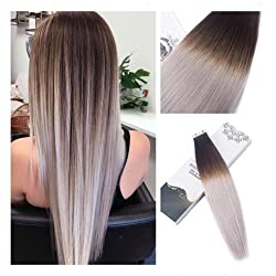 Rinboool 14 Inch 40G 20pcs Per Pack Darkest Brown Fading To Light Silver Tape In Balayae Hair Extension Real Remy Human Hair #2/Light Silver