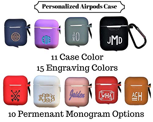 Personalized Airpods Case Keychain 11 Case Colors 10 Monogram Design Options 15 Engraving Colors