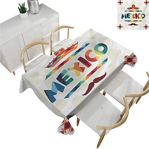 """familytaste Mexican,Christmas Tablecloth,Mexico Traditional Aztec Motifs and Sombrero Straw Hat and Moustache Graphic Print,Polyester Washable Table Cover 60""""x 90"""""""