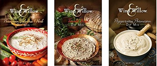 - Wind & Willow Dip Mix Variety Pack - Parmesan Balsamic & Herb, Peppercorn Parmesan, Tomato Basil