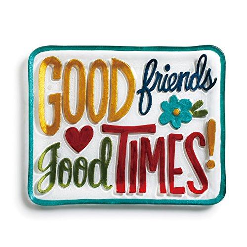 Good Friends Good Times Vibrant Multicolored 14 x 11 Glass Rectangular Platter