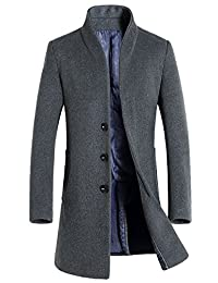 Oncefirst Men's Single Breasted Stand Collar Wool Coat