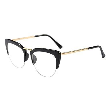 874671a8496 Zhuhaixmy Cat Eye Semi-Rimless Outdoor Glasses Fashion Clear Lens Eyeglasses  Half Frame Composite Frame Retro Personality Eyewear for Women Girls  ...