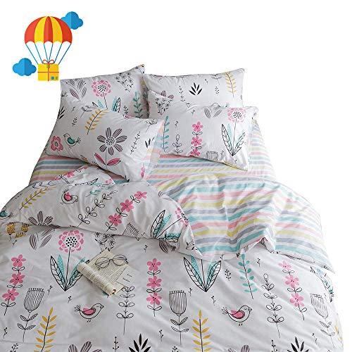 BuLuTu Floral Bird Print Pattern Girls Duvet Covers Queen Wh