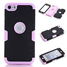 iPod Touch 5 Case,iPod Touch 6 Case, NOKEA Layered 3in 1 Hard PC Case Silicone Shockproof Heavy Duty High Impact Armor Hard Case for Apple iPod Touch 6 5th Generation (Black+Pink)