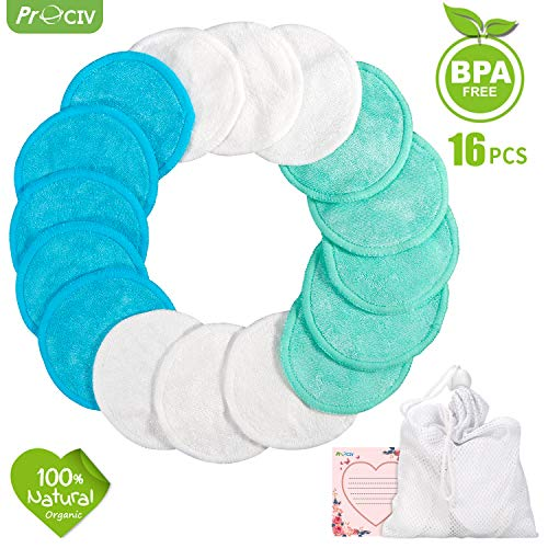 Reusable Makeup Remover Pads - Face Cleansing Wipes Soft Cotton Toner Pads with Wash Bag, 16 Pcs