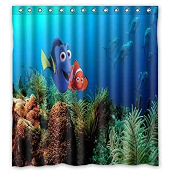 finding nemo custom polyester waterproof bath shower curtain rings included 66 x 72. Black Bedroom Furniture Sets. Home Design Ideas