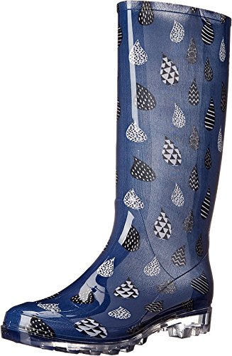 TOMS Women's Cabrilla Rain Boot Moonlight Blue Raindrop Print Boot 7 B (M)