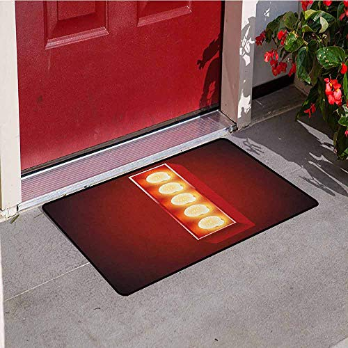 GloriaJohnson Letter I Welcome Door mat Retro Cinema Theater Vivid Color Scheme Writing Systems Capitalized I Door mat is odorless and Durable W29.5 x L39.4 Inch Vermilion Yellow Black
