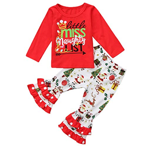 7dac1750ba remeo suit Baby Girl Christmas Festal Set Little Miss Naughty List T Shirt  Top and Double