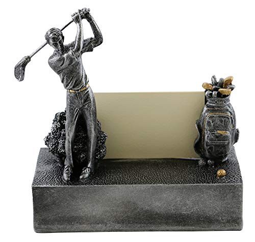 (D) Business Card Holder Silver Golfer for Desk, Industrial Style, Presents for Golf Lovers, Gift for Golfer