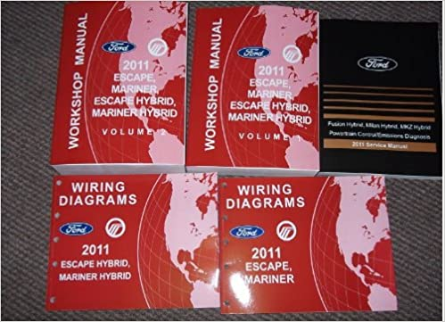2011 ford escape mercury mariner & hybrid service shop repair manual set  oem (2 volume set,powertrain control emission diagnosis manual, and the  electrical
