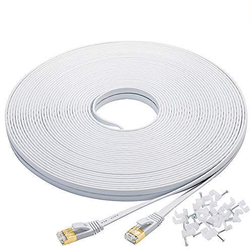 Cat-7 Ethernet Cable 100 ft White Flat Cable Clips, Shielded RJ45 Connectors, High Speed 10 Gigabit LAN Network Patch Cable, Faster Than Cat6 Cat5e by Bxton