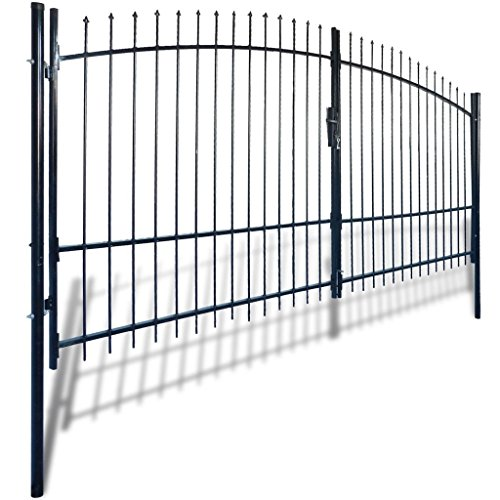 vidaXL Dual Swing Garden Gate Entry Door Fence Driveway Gate Steel Arched 13'W x 7'H - Arched Fence Gate
