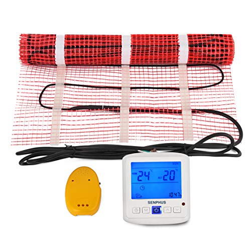 Happybuy 10 Sqft 120V Electric Radiant Floor Heating Mat with Alarmer and Programmable Floor Sensing Thermostat Self-Adhesive Mesh Underfloor Heat Warming Systems Mats Kit (10Sqft Kit)
