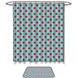 Hot Pink Polka Dot Shower Curtain QINYAN-Home Print Bathroom Rugs Shower Curtain Pop Art Retro Vintage Pin Up Girl Backdrop Inspired Modern Polka Dots Print Hot Pink and Baby Blue. Decorate The Bathroom(Ten Sizes Select)