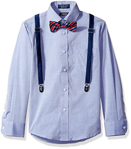Izod Kids Big Boys' Long Sleeve Fancy Chambray Shirt with Bow Tie and Suspender Set, Dark Blue, 20R (Fancy Dress Size 20)
