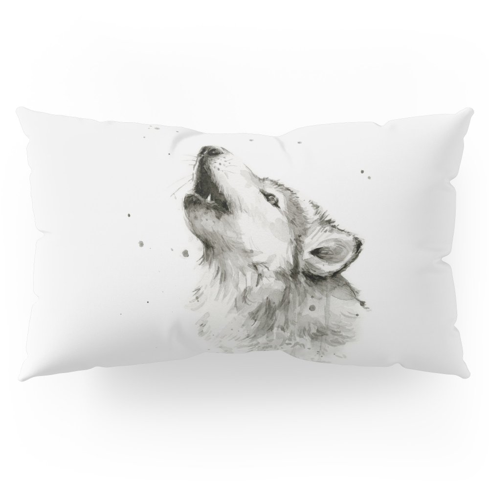 Society6 Wolf Howling Watercolor Animals Wildlife Painting Animal Portrait Pillow Sham King (20'' x 36'') Set of 2